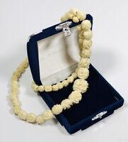 Vintage Necklace Graduated Plastic Rose Beads Barrel Clasp Cute Kitsch Costume