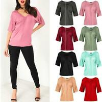 Womens Plus Size Short Sleeve Ladies Stretch Gathered Ruched T-Shirt Plain Tops