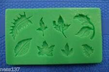 Moule Silicone 8 Feuilles d'Automne Pate à Sucre & d'Amande Cake Design