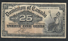 1900 DOMINION OF CANADA 25 CENTS BANK NOTE BOVILLE