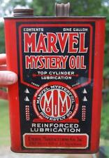 RARE ANTIQUE MARVEL MYSTERY OIL Gal. RED CAN EMEROL N.Y ADVERTISING GAS SIGN