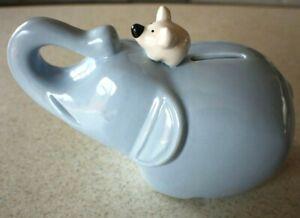 Adorable Light Blue Ceramic Elephant Piggy Bank w Best Friend White Mouse on Top