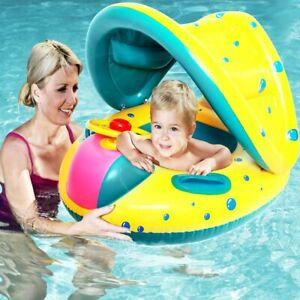 Baby Schwimmring mit Abnehmbarem Sonnendach Schwimmhilfe Schwimmsitz Kinder Neu