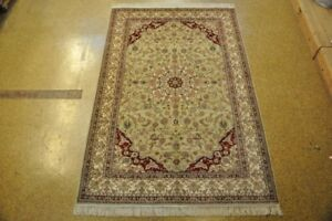 Rugs On Sale Handmade Rug 5 x 8 Traditional Styling Silk Gray - Ivory