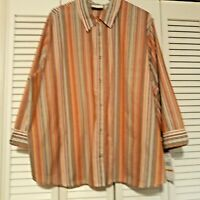 NWT Pretty Striped Button Down Blouse ALFRED DUNNER WOMAN  24 W