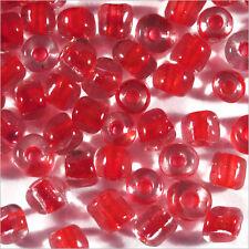 Perles de Rocailles en verre Transparent 4mm Centre Rouge 20g (6/0)