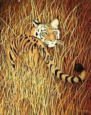 Beautiful Matted Backwards Glance Tiger Foil Art Print~Affordable Art~8x10