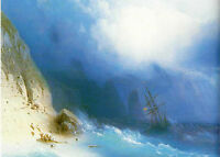 Oil painting Ivan Constantinovich Aivazovsky - The Shipwreck near rocks canvas