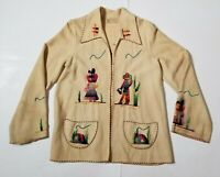 VTG '40s Guillermo Guevara Embroidered Mexican Wool Coat Jacket Hand Embroidered