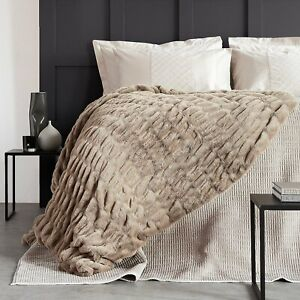 Beige K by Kelly Hoppen Ruched Faux Fur Throw - 150 x 178cm - new