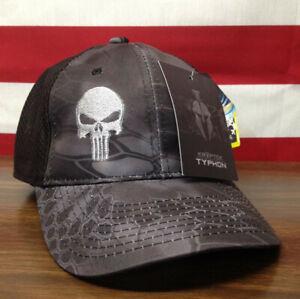 Kryptek Punisher Hat Typhon Black Cap Moisture Wicking Low Crown