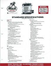 Truck Data Sheet - Mack - WL700LS WS700LS series - c1983 - Brochure (T3292)