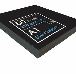 270gsm Recycled Black Card - 50 x A1 Sheets of High Quality Black Paper Card