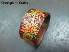 Hand carved Maple leaves leather wristband  bracelet leather Crafts MIT 巧將楓葉皮雕手環