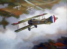 ORIGINAL WW1 MILITARY AVIATION ART PAINTING SPAD VS GERMAN ALBATROSS FIGHTER