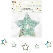 HOLOGRAPHIC PRISMATIC SILVER STAR GARLAND BANNER SPACE HOLLYWOOD PARTY 4M