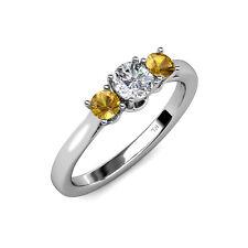 Diamond & Citrine Women 3 Stone Engagement Ring 0.98 ct tw in 14K Gold JP:41795