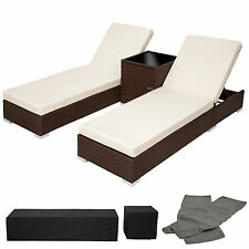 2x Chaise longue bain de soleil + table ALU poly rotin transat de jardin antique