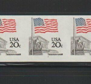 """US ERROR Stamps: #1895d Flag Court. Imperf strip with """"Black Dot"""" var. MNH"""