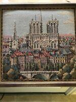 """Vintage Framed Art Paris Tapestry Notre Dame Appx 10"""" X 10"""""""