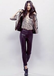 NEW Free People purple brown Vegan Leather Elastic Waist Side Zip Legging Pant 4