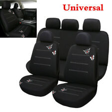 Full Set 9Pcs Butterfly Embroidery Car Seat Cover For Car Interior Accessories