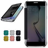 Étui à Clapet pour Samsung Galaxy S6 Edge Etui Coque Miroir Étui 360 Transparent