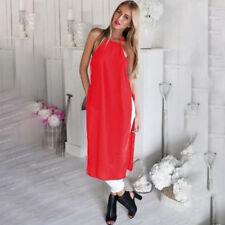 Slim Women Dress Skirt Fashion Outdoor Summer Casual Sexy Acrylic Split Dress ON
