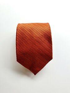 Orange 100% Silk Tie by Ron Bennett - Made In Italy
