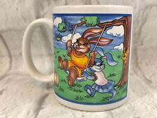 Girl Bunnies Rabbits Playing On Tree Swing Ceramic Coffee Mug Cup Collectible