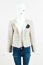 Chanel 01C Cream Black Tweed Sequin Striped Camellia Flower Blazer Jacket SZ 38