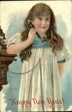 Jenny Nystrom New Year - Little Girl on Telephone c1910 Postcard