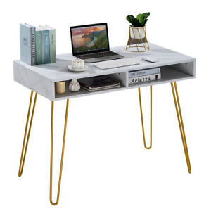 Computer Table Iron Foot White Marble Desk Study Laptop Home Office Pc Station