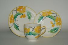 Grays Pottery - Hand Painted - Abstract Floral Tea Cup Trio - Patt. A2246 c.1935