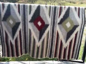 Traditional Carpathian Plaid Blanket Coverlet Geometric Pattern Handmade
