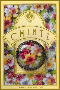 """DU BARRY Glass Dome 1 1/4""""  BUTTON Vintage Chintz China Floral James Kent Studio"""