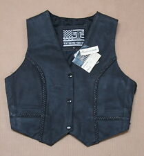 New NWT Extreme Biker USA Leather Motorcycle Vest TH221 Womens XL