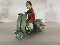 Tin Toy 1950's VESPA SIRO FERRARI rare lithographed driver mechanical very nice!