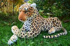 Jungle Leopard Sitting Lying Soft Toy Plush 59cmL