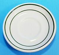 "Shenango China USA Saucer, 5.5"", White w/Green Stripes Vintage Restaurant Ware"