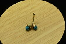10K YELLOW GOLD TWO RAW TURQUOISE DROP DESIGN PENDANT CHARM #X10-1666