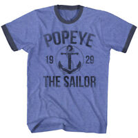 Popeye The Sailorman Anchor 1929 Men's T Shirt Vintage Tattoo Contrast Blue Top