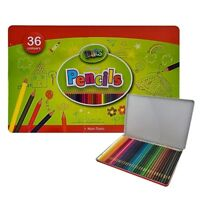 3x Metal Tin Case Art Colour Sketch Pencil  NON-TOXIC Pencils 36 pcs Each Set