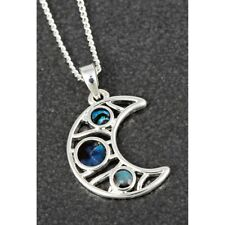 LADIES EQUILIBRIUM SILVER PLATED MOTHER OF PEARL HALF MOON PENDANT & NECKLACE
