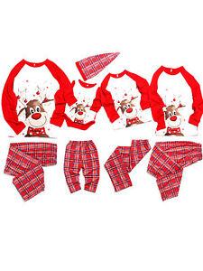 Family Christmas Matching Pajamas Dad Mom Kid Baby Cartoon Plaid Sleepwear  Sets