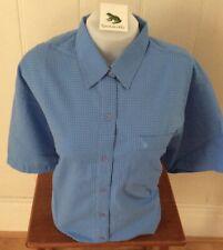 Ladies Grenouille Seersucker Cotton Short Sleeve Shirt - blue, Large