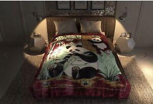 PANDA BEAR BURGUNDY SOLARON KOREAN MINT PLUSH BLANKET HEAVY SOFTY WARM QUEEN