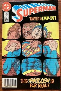 DC Com, No. 421, Superman: Trapped in IMP-TV! This Thriller is for Real JUL 1986