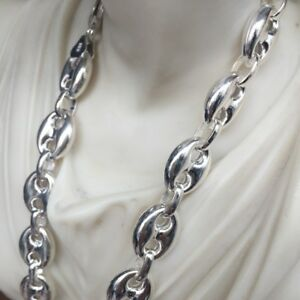 14mm Hollow Puffed Marina Link Chain Necklaces 925 Silver Sterling 28Inch 68GR
