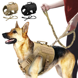 Tactical Dog Training Harness with Leash set No Pull Front Clip Dog Molle Vest